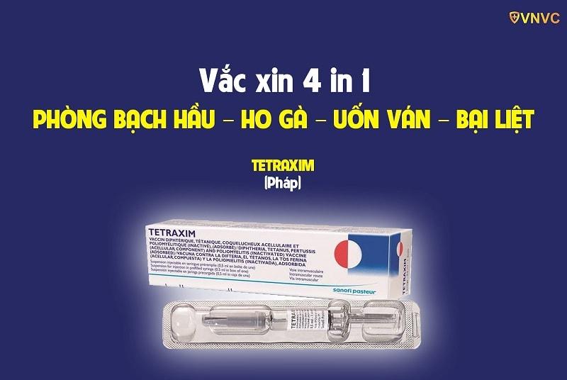 Vắc xin 4 in 1 phòng bạch hầu, ho gà, uốn ván, bại liệt cho trẻ
