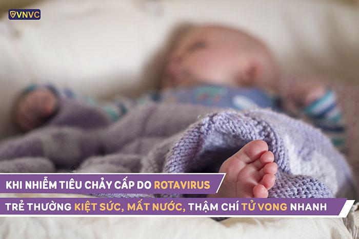 Trẻ tiêu chảy do rotavirus thường kiệt sức, mất nước, thậm chí là tử vong