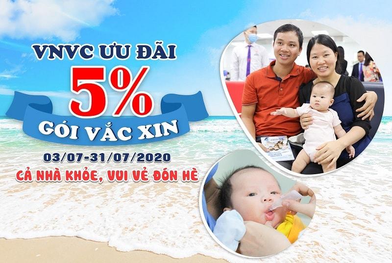 VNVC ưu đãi 5% gói vắc xin mùa hè